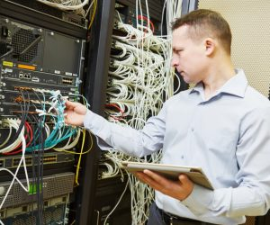 network engineer administrator checking server