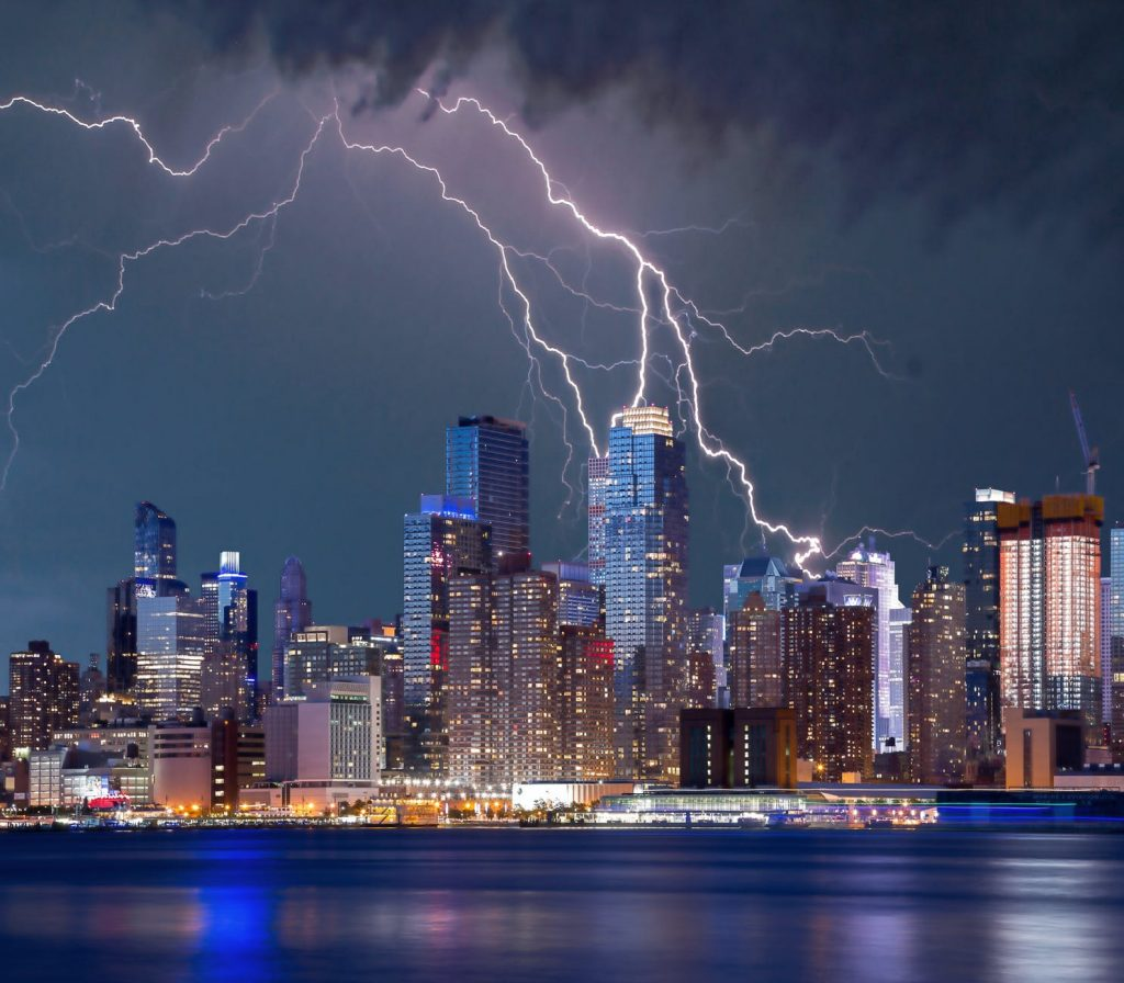 Lightning terrorising the city